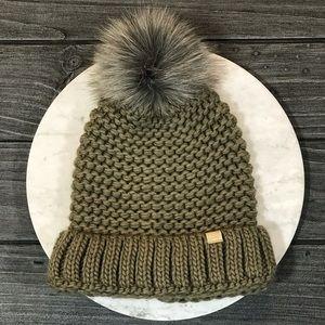 NWT Olive Knit Beanie With Furry Ball Pom Pom